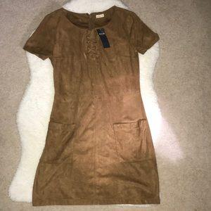 BNWT Cross Stitch Suede Zip-Up Dress w Pockets